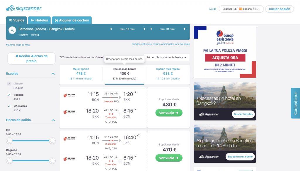 skyscanner buscar vuelos baratos